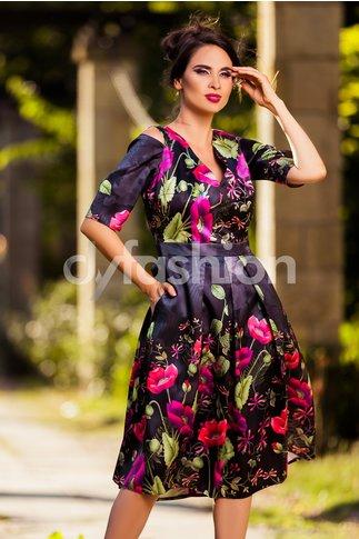 Rochie Tiara Midi din Tafta Florala Mov Fucsia