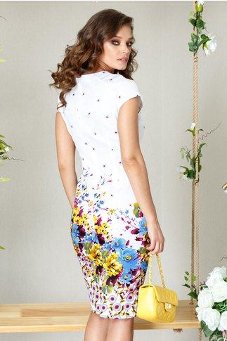 Rochie Tillie midi de vara cu imprimeu floral albastru