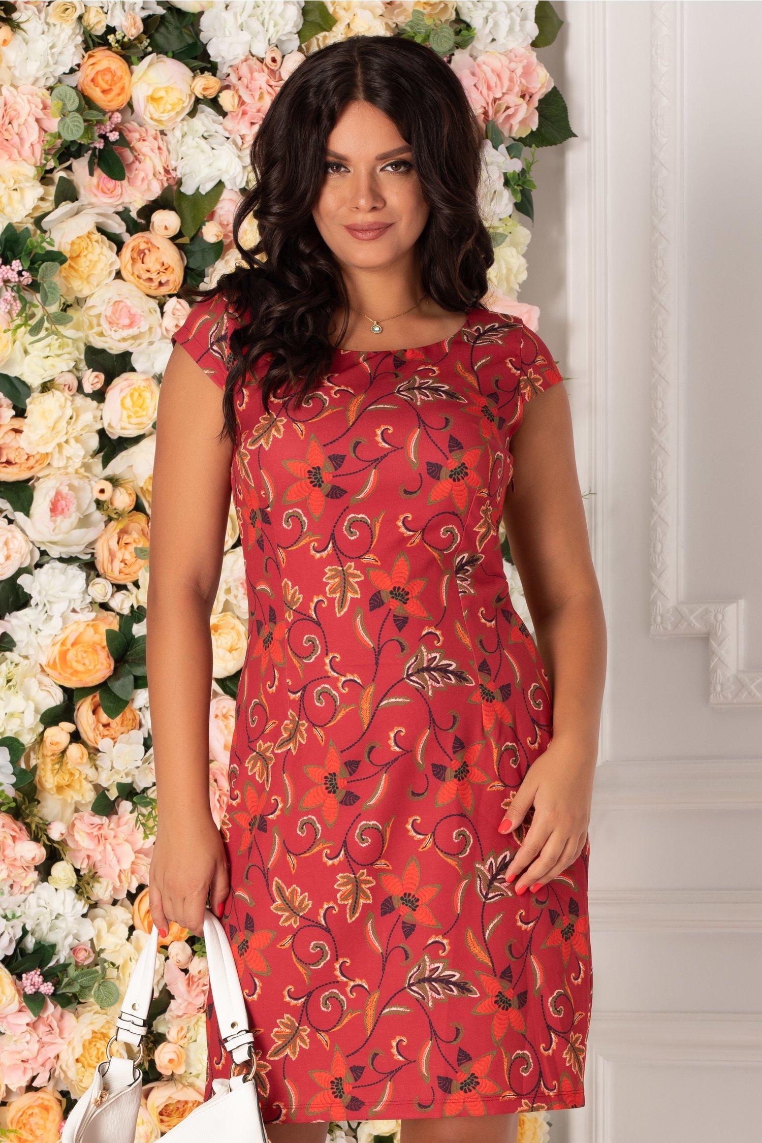 Rochie Timeea grena cu imprimeu floral