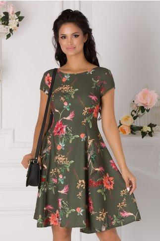 Rochie Timeea kaki cu imprimeu floral