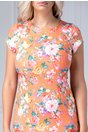 Rochie Tina conica orange cu imprimeu floral