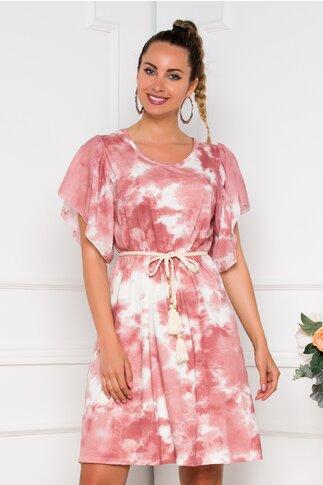Rochie Tina cu imprimeu tie dye roz prafuit