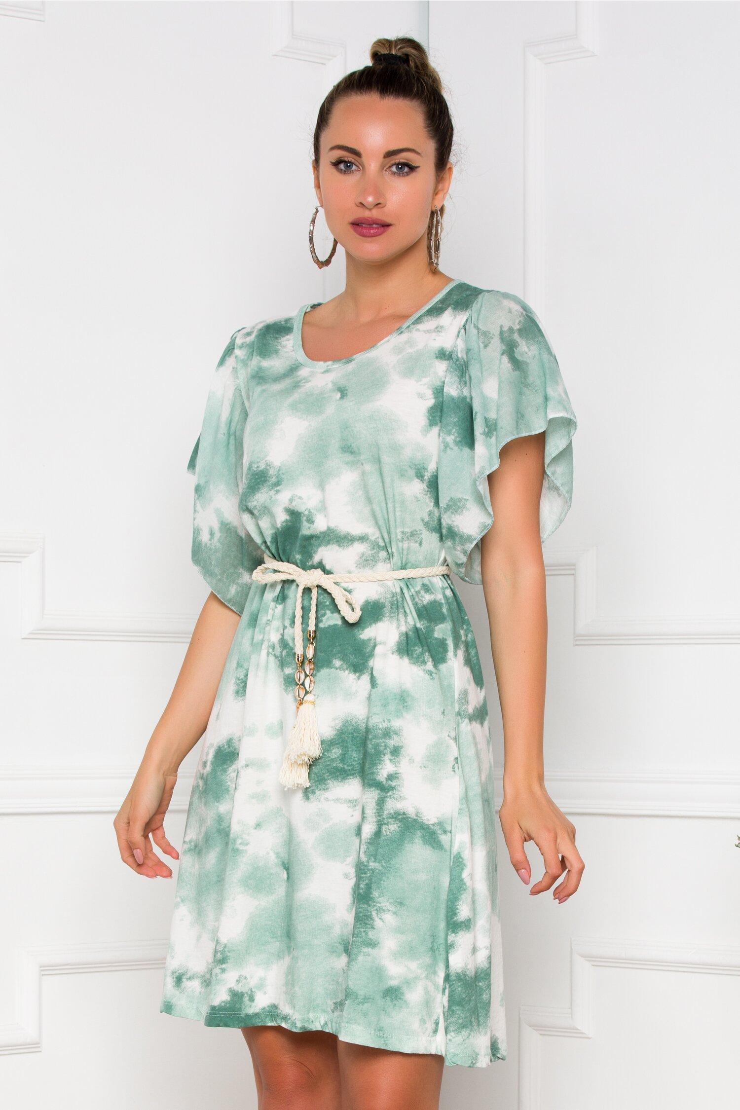 Rochie Tina cu imprimeu tie dye verde pastel