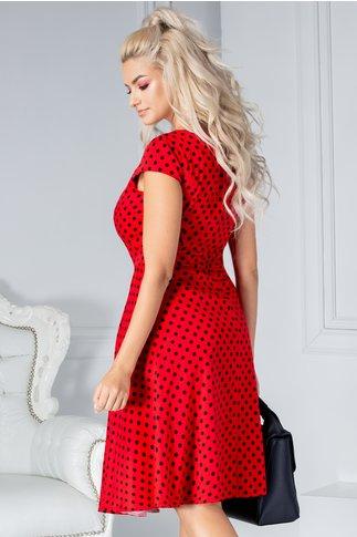 Rochie Tina rosie cu buline negre