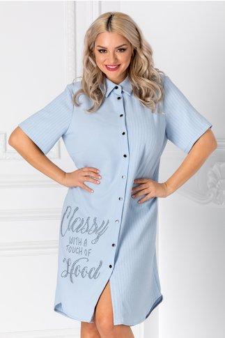 Rochie tip camasa bleu cu dungi si strasuri negre