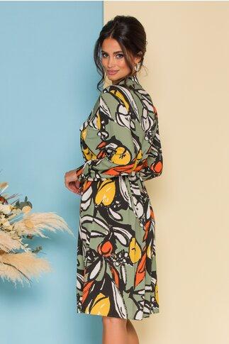 Rochie tip camasa cu imprimeu multicolor si snur in talie