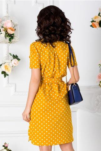Rochie tip camasa galbena cu buline albe si buzunare false la bust