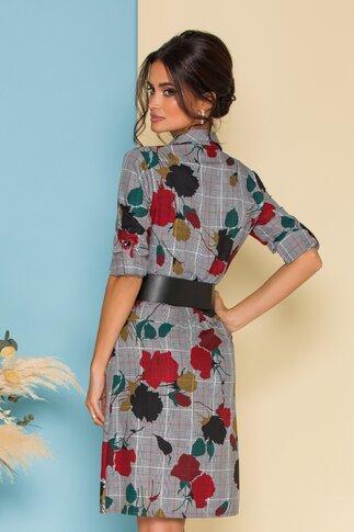 Rochie tip camasa in carouri cu flori bordo si curea lata in talie