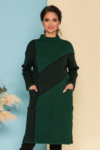 Rochie Tisha verde cu dungi negre si buzunare