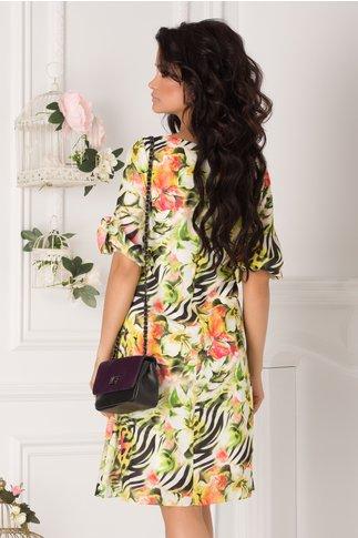 Rochie Tonia cu imprimeu exotic vernil