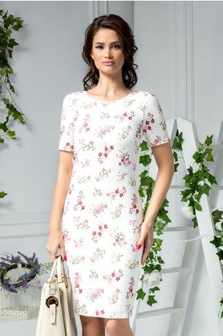 Rochie Tracey midi alba cu imprimeu floral roz