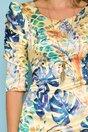 Rochie Trina galbena cu imprimeu exotic si maneci trei sferturi cu fronseu