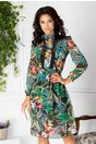 Rochie Tyara vaporoasa cu print exotic
