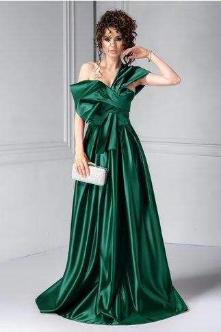 Rochie Tyrese verde lunga de seara fara umar
