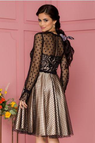 Rochie Valeria bej cu tull negru accesorizat cu broderie si buline catifelate