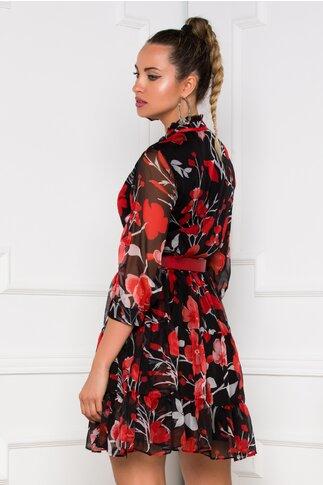 Rochie Valeria neagra cu imprimeuri florale rosii