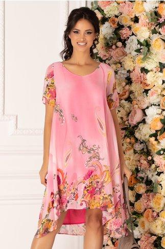 Rochie Valeria roz vaporoasa cu imprimeu multicolor