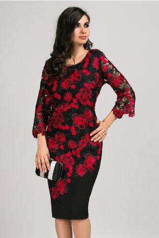 Rochie Valerie neagra cu broderie florala rosie