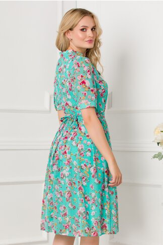 Rochie Valerie verde pastel vaporoasa cu imprimeu floral
