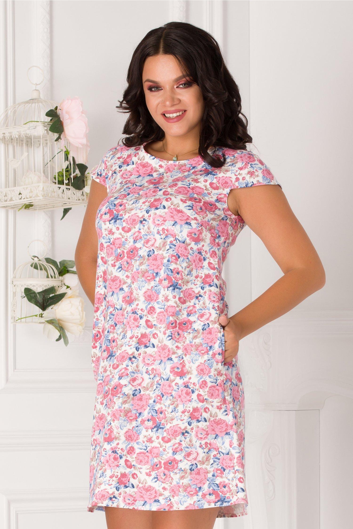 Rochie Valery alba cu imprimeu floral colorat