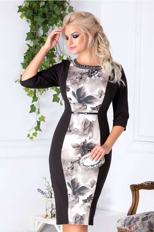 Rochie Vanda neagra cu imprimeu floral gri