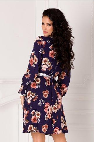 Rochie Vanessa bleumarin cu imprimeu floral pastelat si cordon in talie