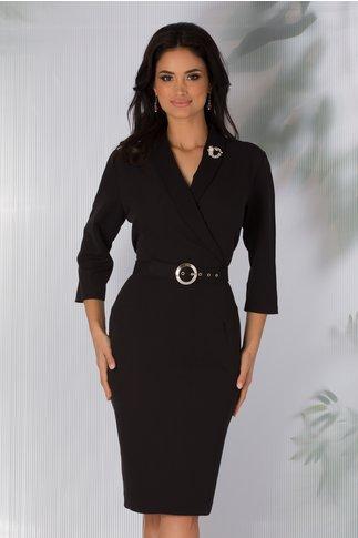 Rochie Vania neagra office cu rever si curea