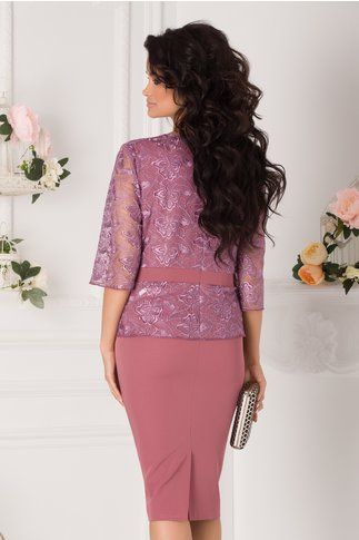 Rochie Vanity roz coniac cu dantela lila la bust
