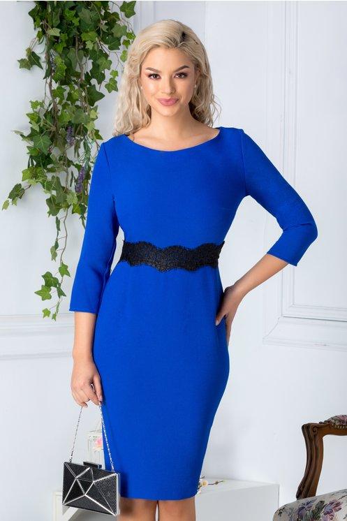 Rochie Vanne conica albastra cu dantela neagra in talie