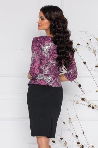 Rochie Vanya neagra cu imprimeu floral mov si peplum in talie