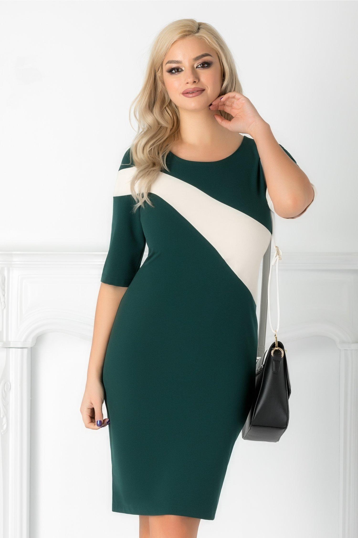 Rochie Vanya verde cu dunga alba pe diagonala