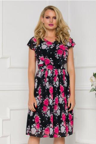Rochie vaporoasa neagra cu volane la maneci si imprimeu floral