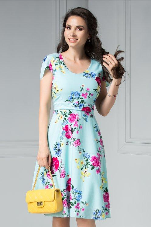 Rochie Veda bleu de vara cu imprimeu floral roz