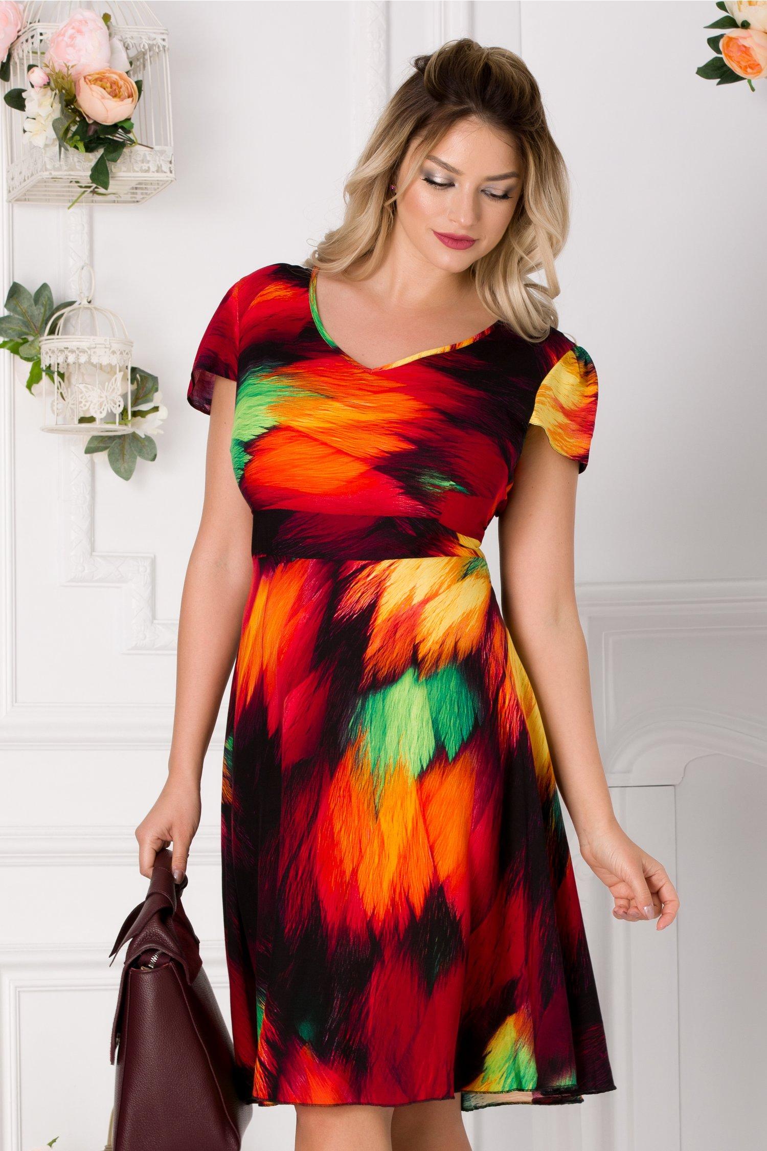 Rochie Veda cu imprimeu multicolor