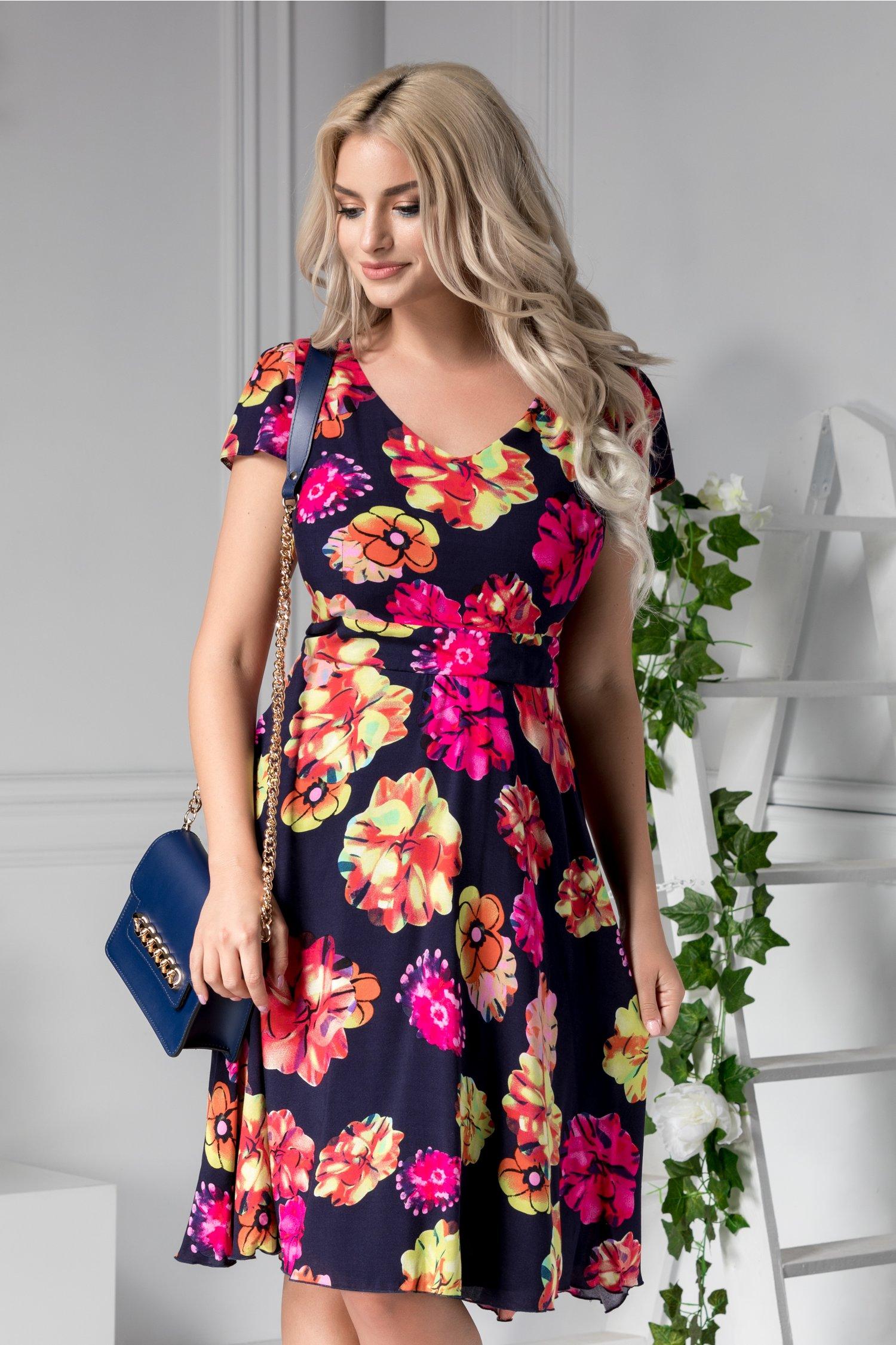 Rochie Veda de zi bleumarin cu imprimeu floral