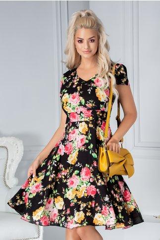 Rochie Veda de zi neagra cu flori roz-orange