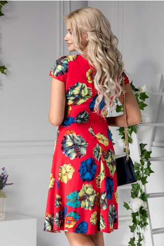 Rochie Veda de zi rosie cu imprimeu floral