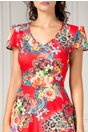 Rochie Veda de zi rosie cu imprimeu floral colorat