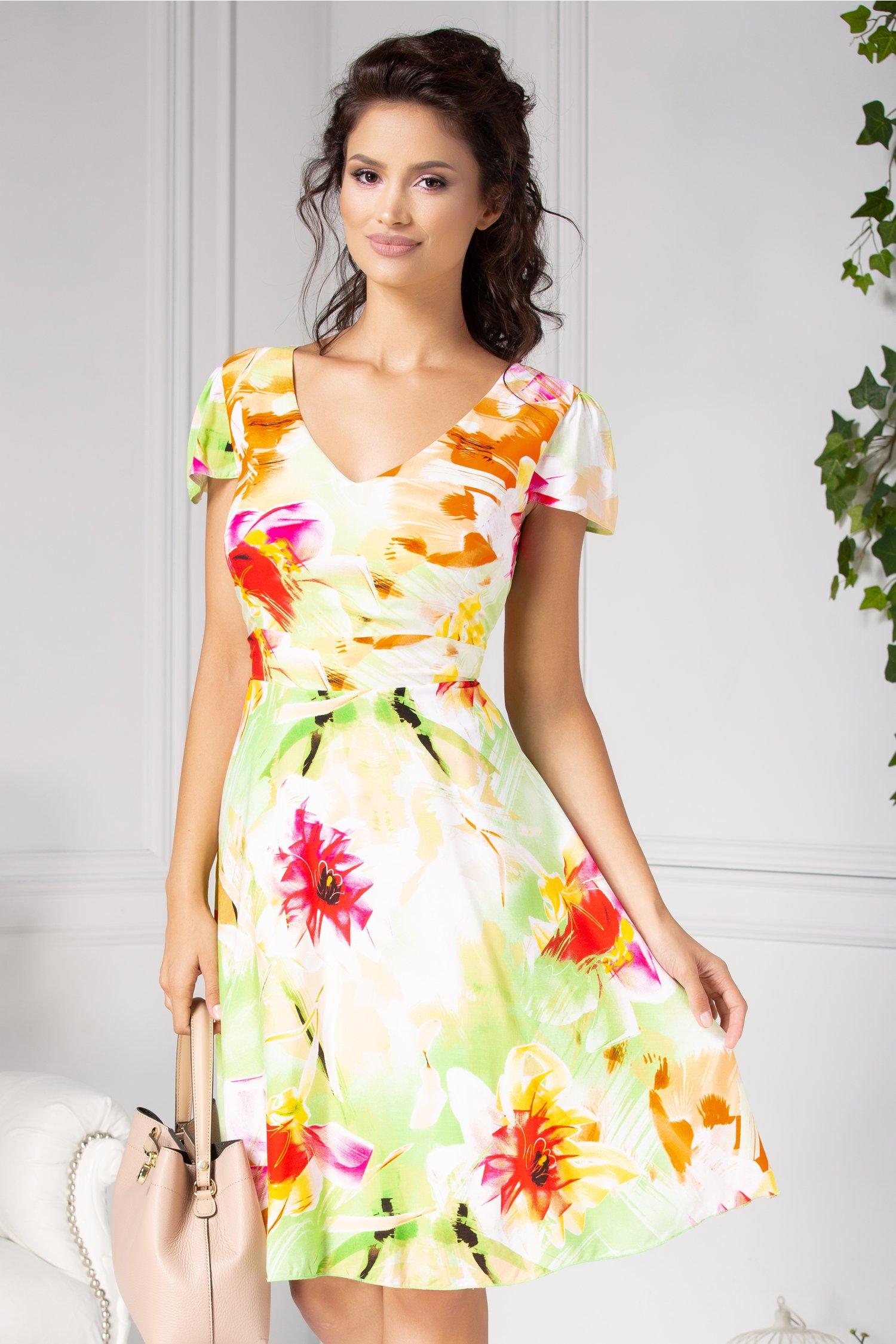 Rochie Veda de zi vernil cu imprimeu floral