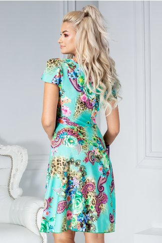 Rochie Veda turcoaz cu imprimeu floral colorat