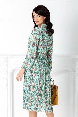 Rochie Vedda ivory cu imprimeuri florale verzi