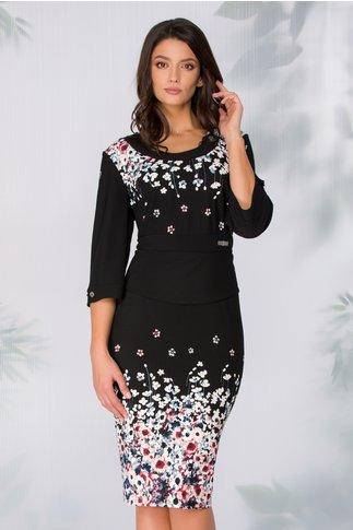 Rochie Velma neagra cu imprimeu floral si peplum in talie