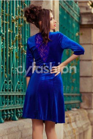 Rochie Velvet Albastra de Ocazie din Catifea