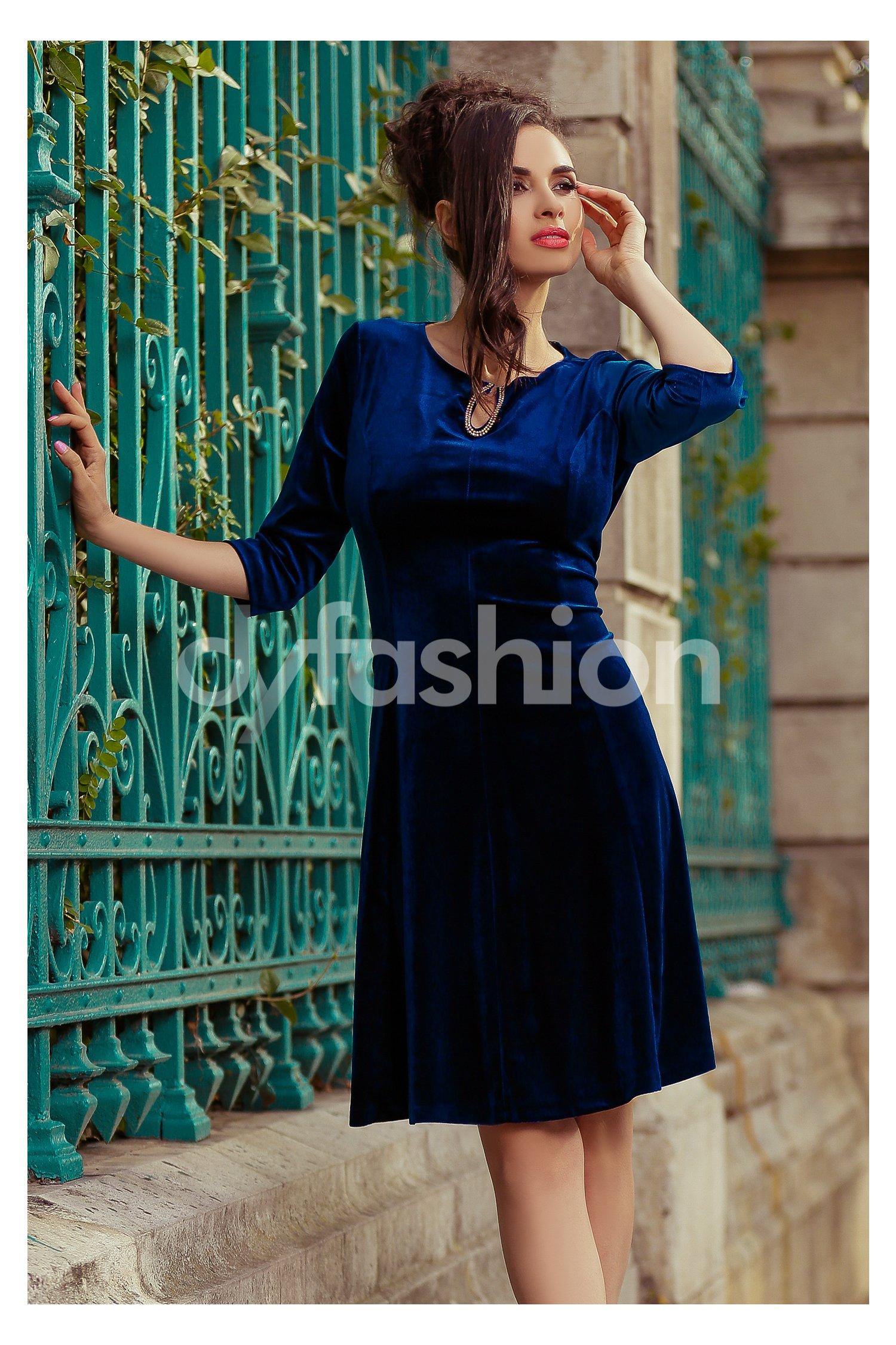 Rochie Velvet Bleumarin din Catifea Eleganta