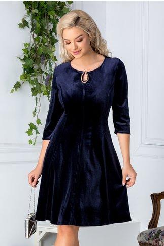 Rochie Velvet bleumarin inchis din catifea
