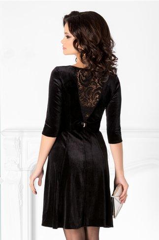 Rochie Velvet neagra din catifea cu fundita la spate