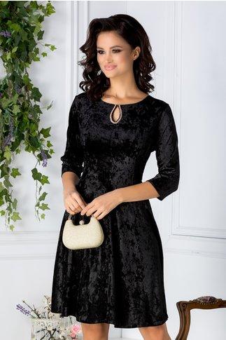 Rochie Velvet Neagra din Catifea cu reflexii si Dantela