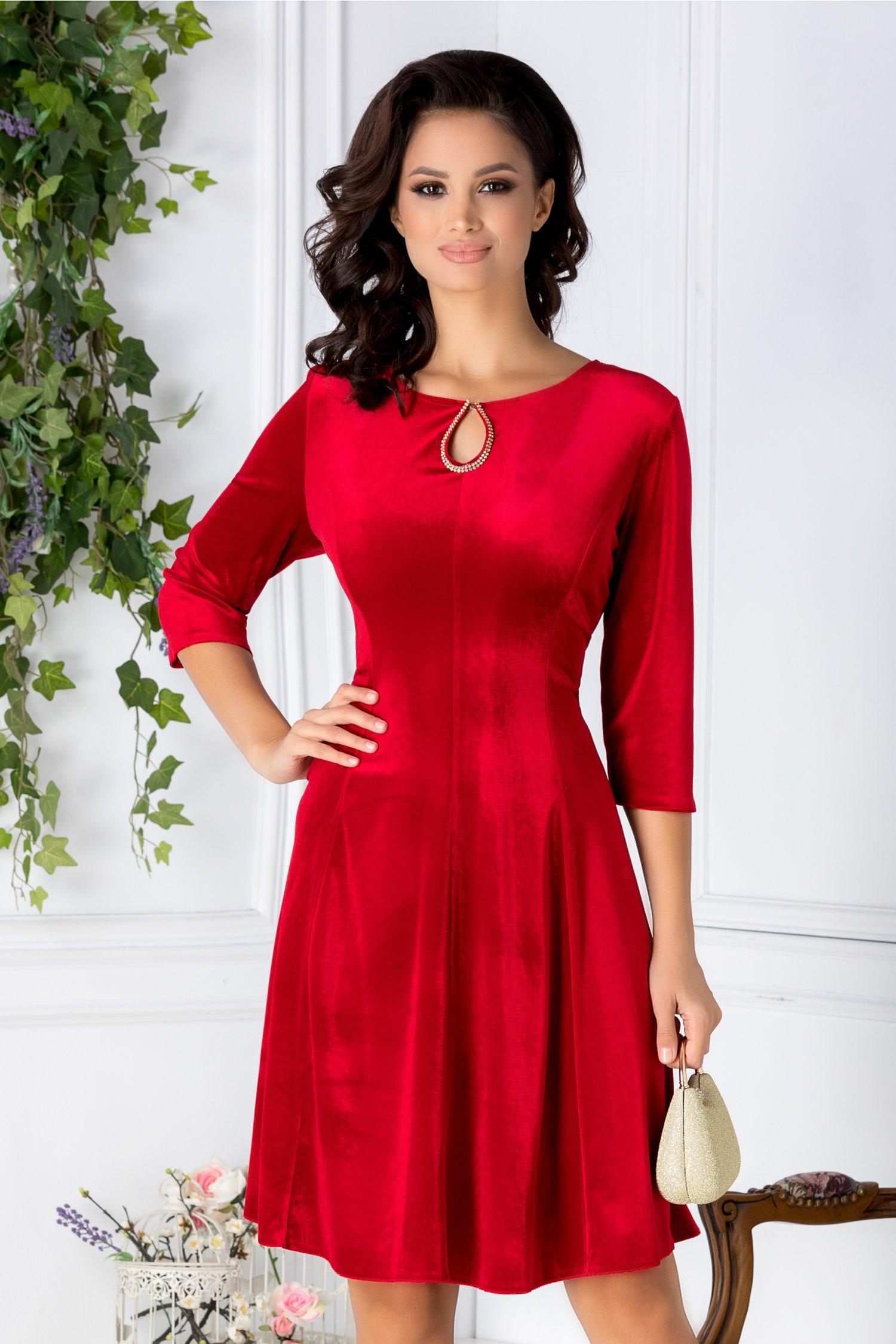Rochie Velvet rosie de ocazie din catifea