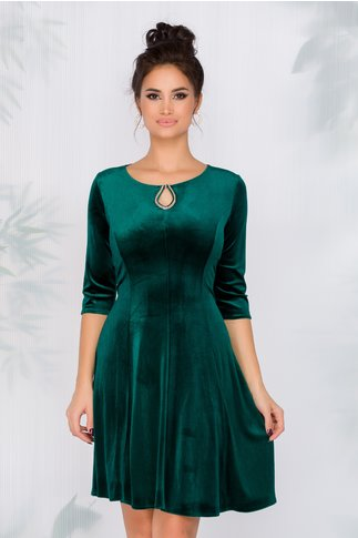 Rochie Velvet verde din catifea cu fundita la spate