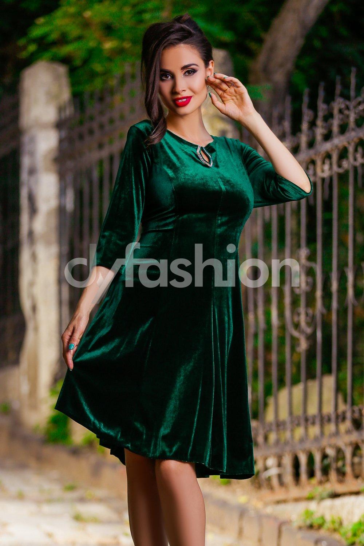 Rochie Velvet Verde din Catifea Eleganta